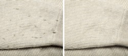 Light cloth before and after using of fabric shaver, collage. Banner design