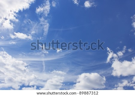 Light clouds of various types on the background of a blue sky