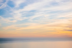Light colored pastel sunset over the Pacific Ocean
