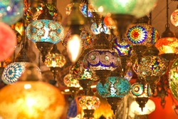light colorful in istanbul artwork Marketplace with stained glass lamps, colorful oriental craft product in traditional bazaar.