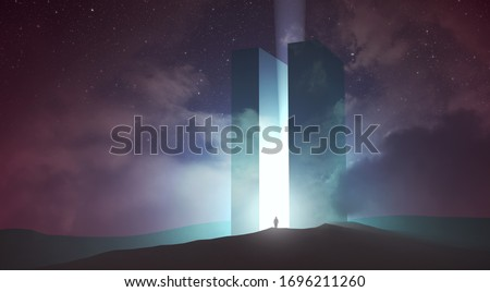 light coming out of magical gate in dark surreal landscape, 3d illustration Foto stock ©