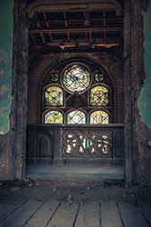 Light coming through a big window in the haunted Spicer castle in Serbia