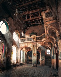 Light coming through windows in the haunted Spicer castle in Serbia