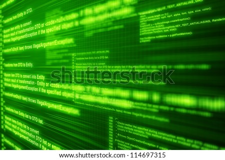Light computer code on Green screen with layers and depth
