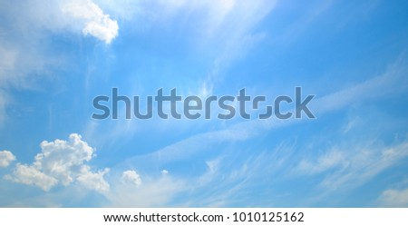 Light cumulus clouds in the blue sky. Wide photo. #1010125162