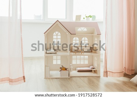 Light Doll house interior miniature. View on children room in pastel neutral colors Stock photo ©