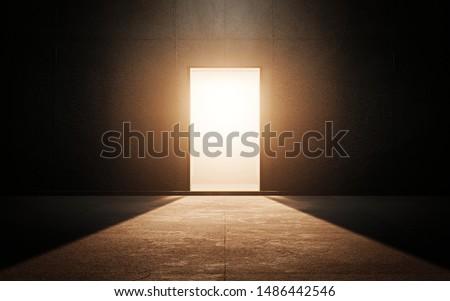Light door in dark room. 3d render Photo stock ©