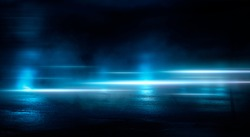 Light effect, blurred background. Wet asphalt, night view of the city, neon reflections on the concrete floor. Night empty stage, studio. Dark abstract background, dark empty street. Night city.