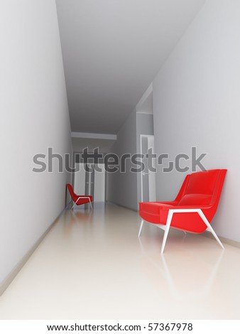 light empty hall of business center with red arm-chairs at walls