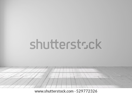 Light empty space with parquet floors. Mockup template for display or montage of product. Studio or office blank space.