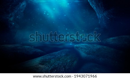 Light figure under water. Dark green water.  Depth of sea water, the bottom of the sea, the rays of the sun through the water, the underwater world, dark sea the background. 3d illustration
