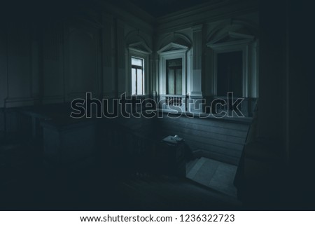 light from a window in abandoned building - dark mood style image #1236322723