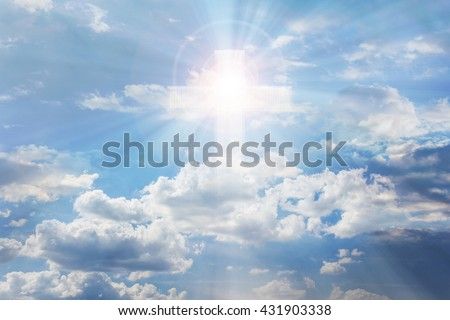 Light from sky or heaven shine trough soft crucifix or cross form on pure white shining puffy clouds sky, heaven dreamy bright and shine sky with crucifix or cross and God light