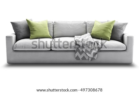 Light gray fabric three-seat modern sofa with gray and green pillows and plaid