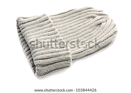 Light gray knitted wool hat on white background