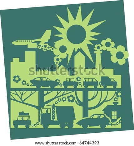 Light green city on dark background silhouette color raster illustration