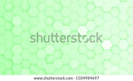 Light green hexagonal grid in a random pattern. 3D computer generated image.