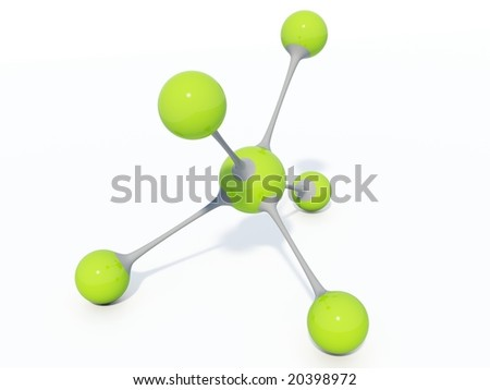 Light green molecule isolated on white
