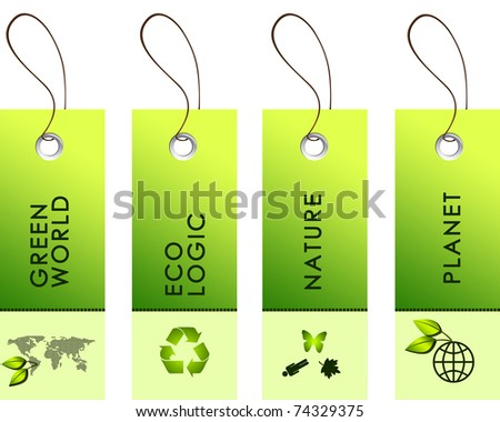 Light green tags with inscriptions dedicated to protecting the environment - stock photo