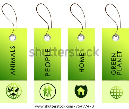 Light green tags with inscriptions dedicated to protecting the environment