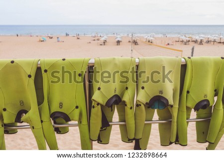 Light green wetsuits is drying out in sun for next group surfing lesson on ocean with sandy beach and seascape on background #1232898664