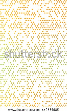 Light Green, Yellow red banner with set of circles, dots. Donuts Background. Creative Design Template. Technological halftone illustration. #662664685