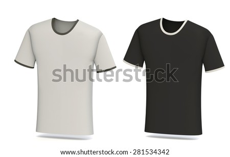 Light grey and black t-shirt blank design template isolated on white background - Shutterstock ID 281534342