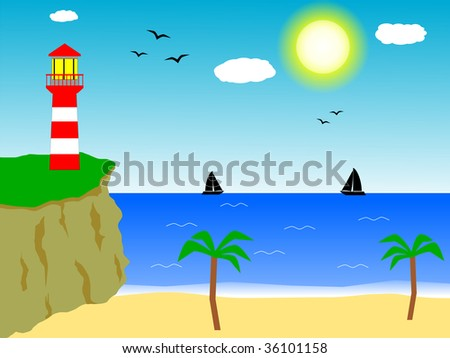 Light house on the top of a cliff, in front of the sea. Two sailing boats on the horizon. Illustration