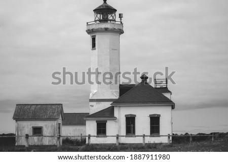 Light house summer beach fort Worden Washington state structure sunny  Stockfoto ©