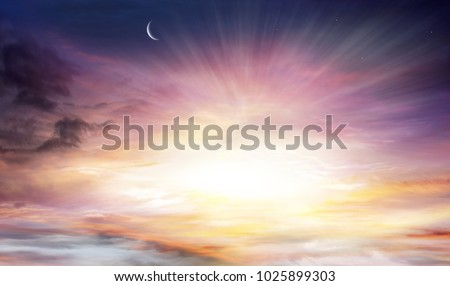 Light in dark sky . beautiful cloud . background sky at sunset and dawn . Glowing sunset . Sunset sky  .  Sunset or sunrise with clouds, light rays and other atmospheric effect . beam of the sun