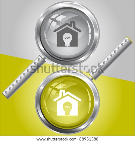 Light in home. Raster magnifying glass. Vector version is in my portfolio.