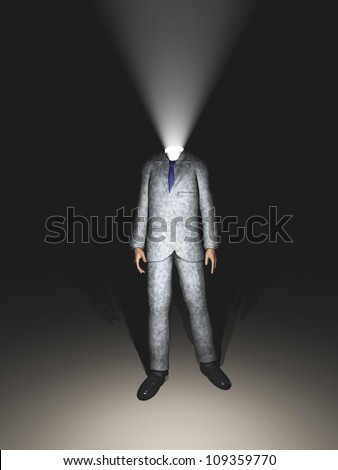 Light in place of head on business man