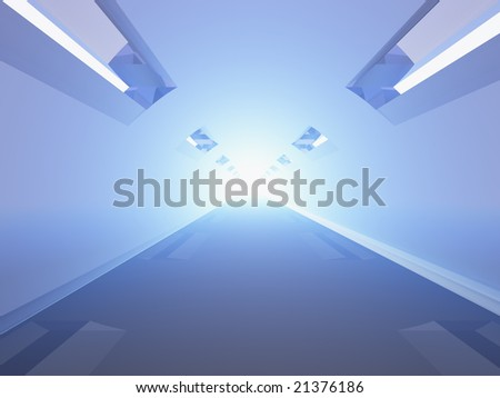 light in Tunnel in the office, perspective view