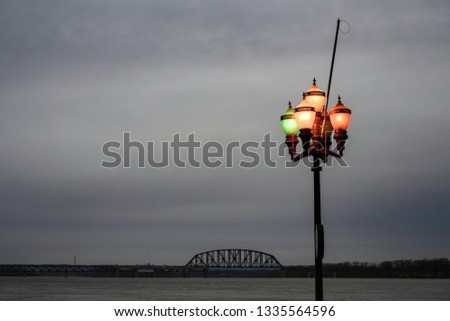 light lamp with bridge background cloudy gray sky #1335564596