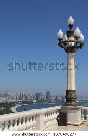 Light laterns on the promenade of Baky city