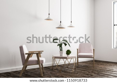 Light living room interior with armchair, small table with plants and lamps. Style and design concept. 3D Rendering  #1150918733