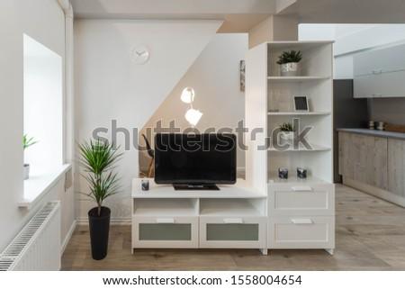Light modern interior of modern studio apartment. Private house.