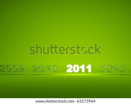 Light new year symbol on green background