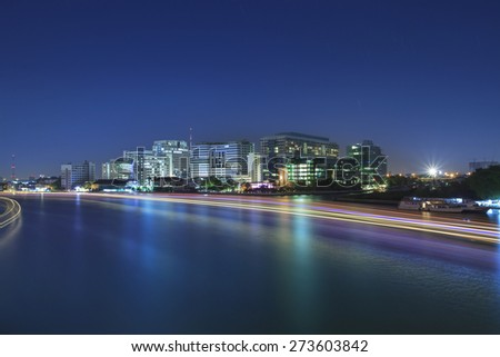 light of boat running in river painting beautiful light in chao phraya river with sirirach hospital one of important bangkok landmark of thailand