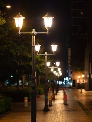 Light of streetlights at night