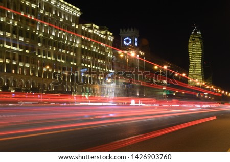 Light on the night Heydar Aliyev Avenue.Baku,Azerbaijan