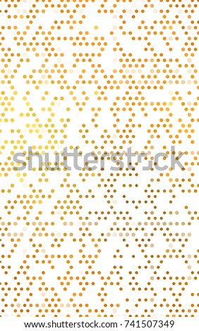 Light Orange pattern with colored spheres. Geometric sample of repeating circles on white background in halftone style. #741507349