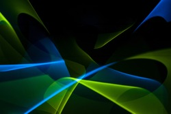 Light painting abstract background. Blue and green light painting photography, long exposure, ripples and swirl against a black background.