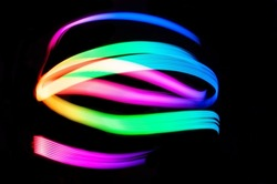 Light Painting Lines of Colour.LED lighting design style,night lights, drawing with LED lights,Storm of Light