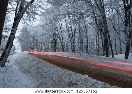Light painting near a forest in middle of winter