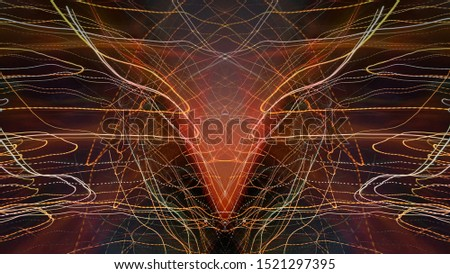 Light painting. Neon glow. Symmetry and reflection. Festive decoration. Abstract blurred background. Glowing texture. Shining pattern.