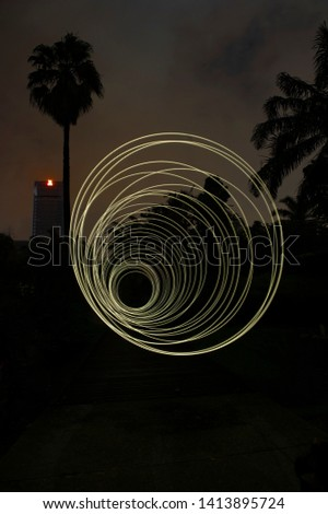 Light Painting technique in photography- Image moving light and slow shutter technique.