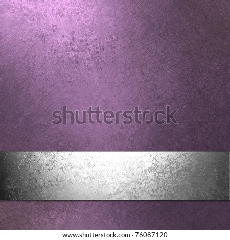 light pastel  purple background with old vintage grunge texture, metallic silver ribbon, and copy space to add your own text or title to website template