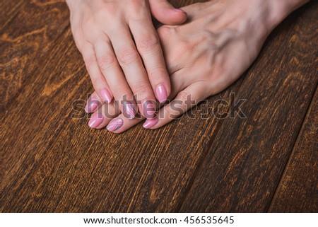Light Pink Nail Art On Wooden Background Ez Canvas