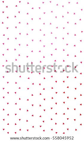 Light Pink Red of small triangles on white background. Illustration of abstract texture of triangles. Pattern design for banner, poster, cover. #558045952